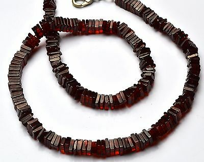 Natural Gem Garnet 5-6MM Heishi Smooth Square Beads Necklace 205Cts. 16""