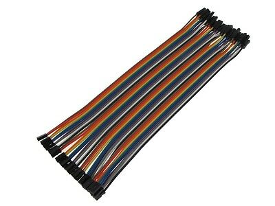 2P 2.0mm to 1P 2.54mm F/F Zippable Color Jumper Wire Pre-Crimped 40 Pins 20cm