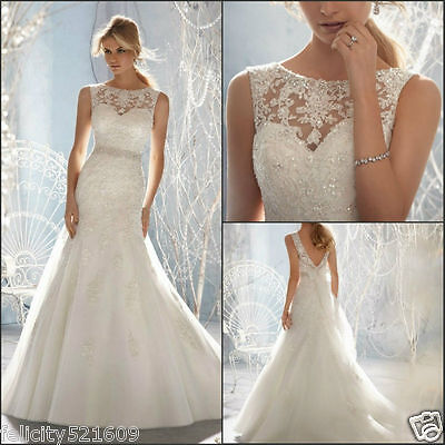 New Mermaid white/ivory Wedding Dress Bridal Gown Stock Size4 6 8 10 12 14 16 18
