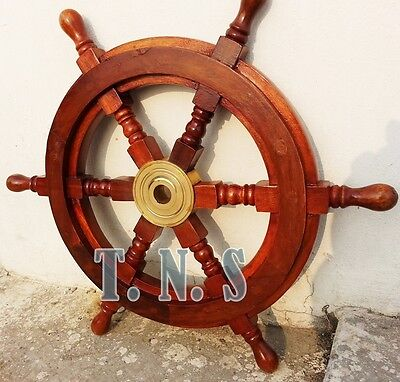 Boat Ship Wheel Wooden Steering Nautical Vintage Collectible home Decor Antique