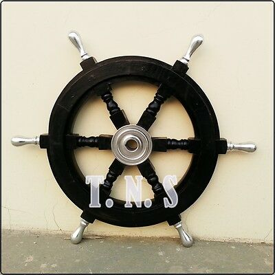 """Wood and Aluminum Boat Ship Wheel Pirate Captain Wooden Helm 18"""" Black Steering"""