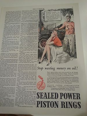 1938 Sealed Power Piston Rings Man Woman Ran Out Of Oil Car Part Print Ad