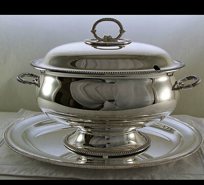 Soup Tureen & Cover, Oval Platter with French Gadroon, Applied Border