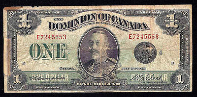 DOMINION OF CANADA $1 DOLLAR 1923 black E DC-25o Grp 4