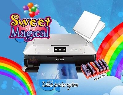 Edible Ink Printer Canon Pixma Mg7720 White + Frosting Sheets + 6 Edible Inks