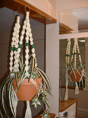 LOT 2 Macrame Plant Hangers IVORY Green BEADS Made in USA
