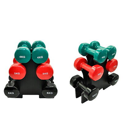 3 Pairs PVC Dumbbell Set Weight - 4kg + 5kg + 6kg - Total 30kg With 1 Free Rack
