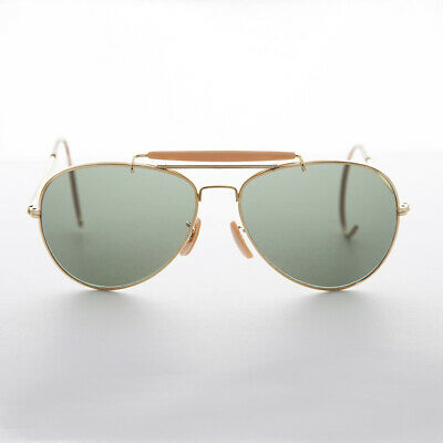 Vintage Aviator Sunglasses with Cable Temples and Glass Lens NOS Gold-Wolfman