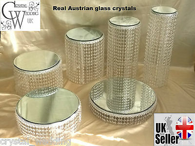 Crystal wedding Cake Stand - Ascending style Real Crystal     6 sizes to choose