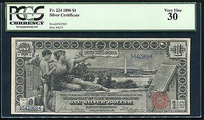 """Fr. 224 1896 $1 Silver Certificate """"educational"""" Currency Note Pcgs Vf-30"""
