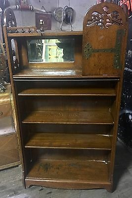 Rare Old Oak Arts & crafts Bookcase With Tree Of Life Cut Out Turn Of Century