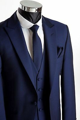 Custom Made  Navy Blue 3 Piece Mens Wedding Business Suits Groomsmen Tuxedos 830