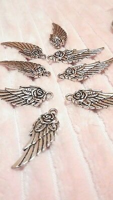 PEPPERLONELY Brand, 30pc Antiqued Silver Tone Charms, Wing rose