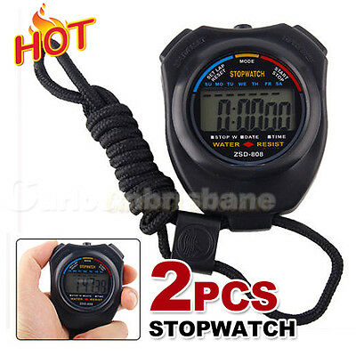 2x Digital LCD Handheld Stopwatch Chronograph Sports Counter Timer Stop Watch