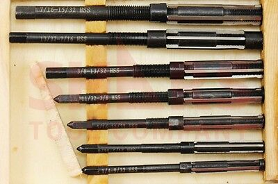 """Shars 7 Pcs Set 8/A to 2/A Size 1/4 -15/32"""" HSS Adjustable Hand Reamers NEW"""