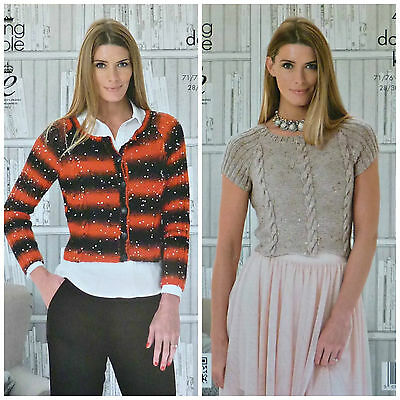 KNITTING PATTERN Ladies Round Neck Cable Cardigan & Jumper DK King Cole 4108