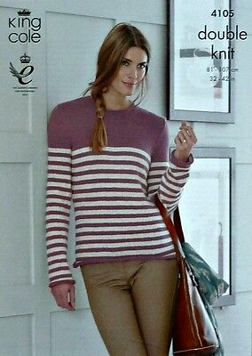 KNITTING PATTERN Ladies Long Sleeve Round Neck Striped Jumper DK King Cole 4105