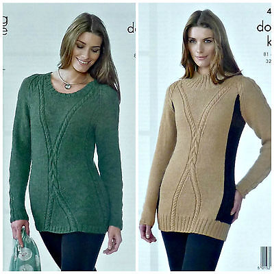 KNITTING PATTERN Ladies Long Sleeve High Neck Cable Jumper DK King Cole 4104