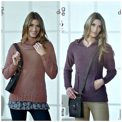 KNITTING PATTERN Ladies Long Sleeve Hooded Jumper Front Pocket DK King Cole 4101
