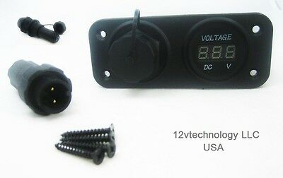 Waterproof Two 2 Pin Wire Terminal Solar Panel Connector 12V Socket Voltmeter