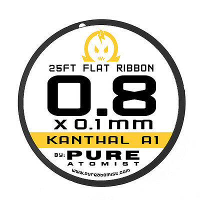 Pure Atomist Kanthal A1 Flat Ribbon Alloy Wire - 0.8 X 0.1 mm 25 50 & 100 FT