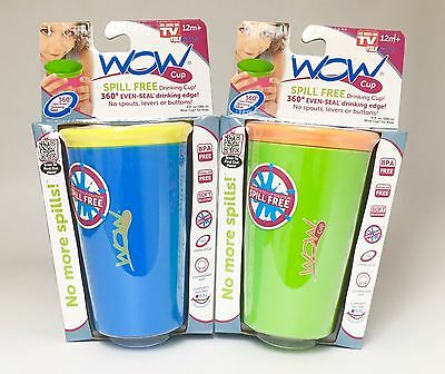 As Seen on TV Wow Cup, Spill-Proof Cup - 2 Pack- Blue & Green