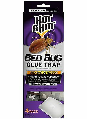 4 Count Hot Shot Early Bed Bug Infestation Detector Glue Trap