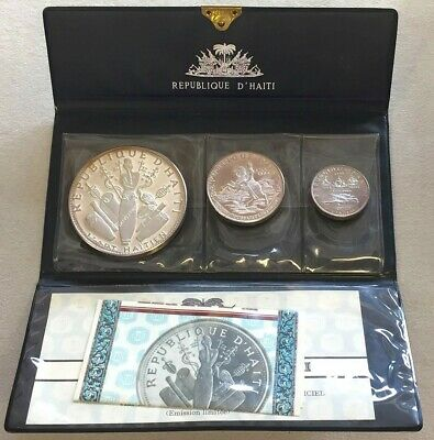 1970 Silver Haiti 10Th Anniversary Revolution 3 Coin Proof Set -Original Cachet