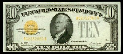 1928 $10 Dollar Small Size Gold Certificate Fr# 2400 Choice Au