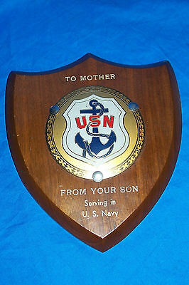 WWII To Mother From Son Wood Plaque USN US Navy Old Vintage Wall Sign WW 2 Two