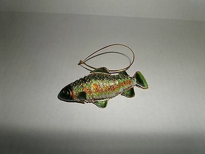 Rainbow Trout Fish Hanging Ornament Articulated Cloisonne - Green - 4809