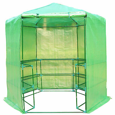 Outsunny Ø6.4'x7.4' Portable Walk-In Greenhouse Warm Plants Flower House Shelves