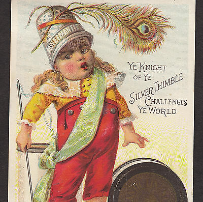 Willimantic Sewing Thread Needle Knight of Silver Thimble poem 1800's Trade Card