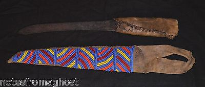 "Antique Native American Plains Indian Beaded Sheath & Handmade Knife 14"" Leather"