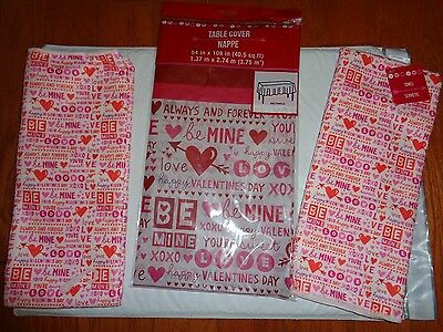 Valentine's Day Pink/Red 2 Kitchen Towels & (1) Plastic Tablecloth w/Hearts.