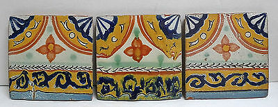 Mexico Set of 3 Vintage Mexican Decorated Tiles