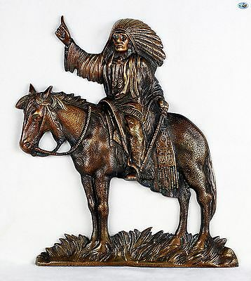 """Magnificent Vintage Indian Chief Full Body & Horse Bronze Plaque 9"""" x 12"""""""