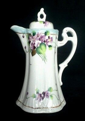 Nippon Antique Hand Painted Porcelain Chocolate Pot Violets Gold Trim  D1