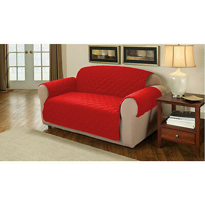 Red Quilted Cotton 3 Seater Sofa Furniture Protector Cover Slipcover Throw