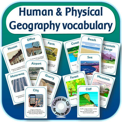 KS1 Human & Physical geography vocabulary posters display teaching resources CD