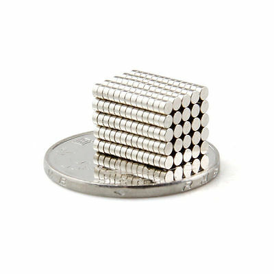 100 Pcs Super Strong Round Disc 2 x 1 mm Magnet Rare Earth Neodymium N35