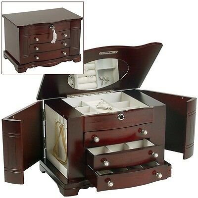 Large Wooden Jewellery Box 3 Drawer Real Wood Jewelry Chest Case By Mele & Co.