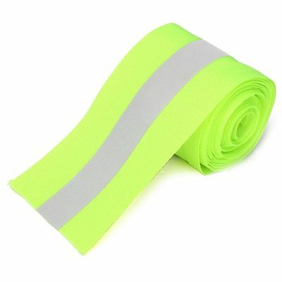 3M Silver Reflective Tape Safty Strip Sew On Lime Green Gray Trim Fabric Wth 2""