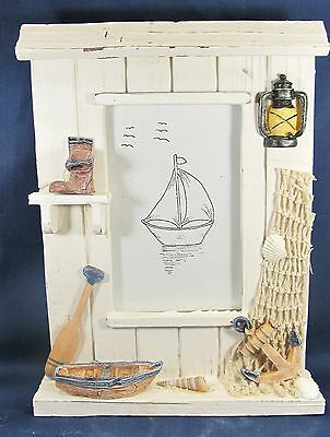 Sea Shanty Picture Frame hand made wood with netting,anchor,boat nautical decor