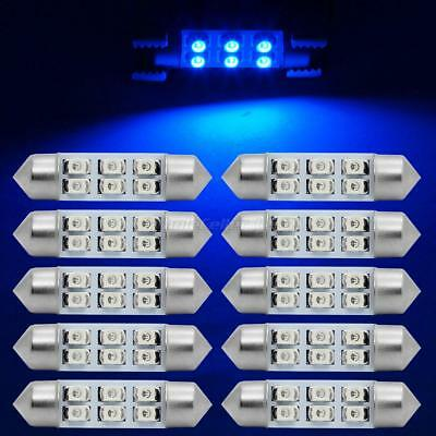 10X Ultra Blue Epistar 6-SMD LED Interior Dome Map Trunk Door Lights Bulbs 6411