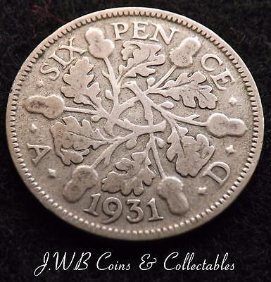1931 George V .500 Silver Sixpence 6d Coin.,