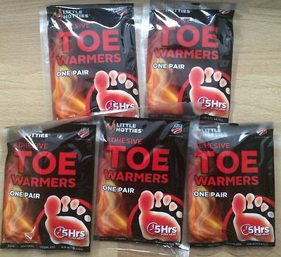5 Pair Little Hotties Adhesive Toe Foot Warmer 5 Hour Pure Heat Air Activated