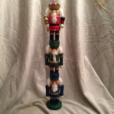 """Nutcrackers Red Green Blue Stacking Christmas Holiday Decoration 16"""" Rare"""