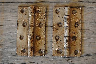 "Vintage Iron Hinges Pair Farm Barn Decor gate butt door Rusty 3.96""*2.36"" ISI"