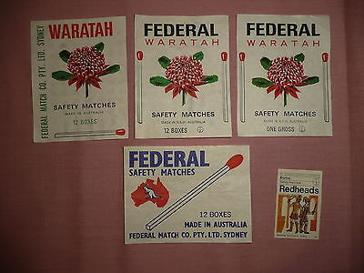 4 Different Federal & Waratah Gross or 12 Box Labels Matchbox wrapper labels
